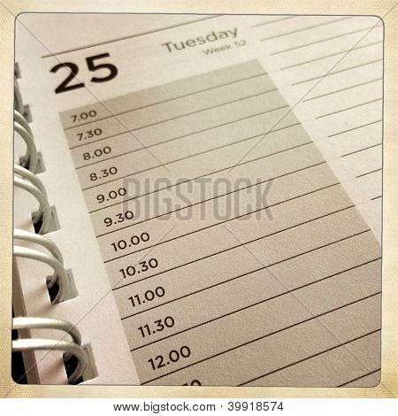 Closeup of lined diary page