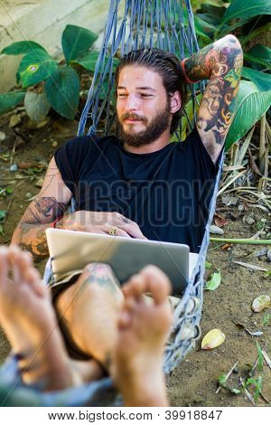 computer in hammock