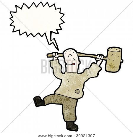 cartoon man with huge mallet
