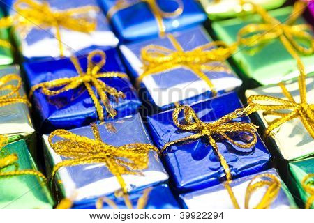 Set Of Colorful Christmas Gifts