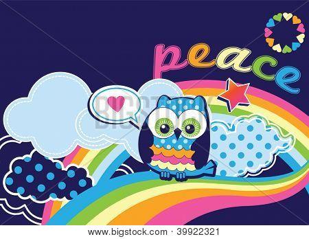 cute peace owl vector illustration