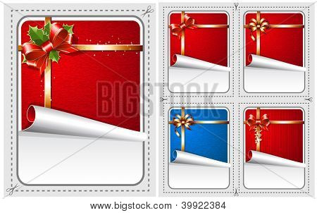 Vector sale stickers with Christmas traditional decorations