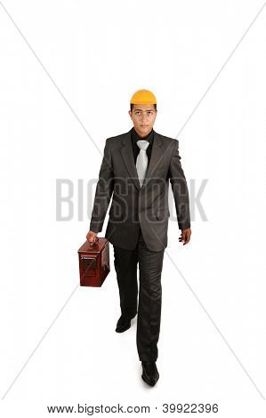 Engineer with old briefcase