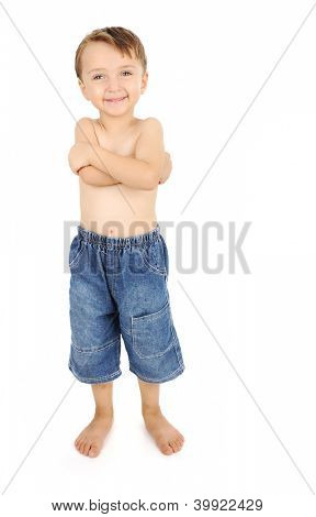 portrait of happy kid shirtless smiling and posing over white background