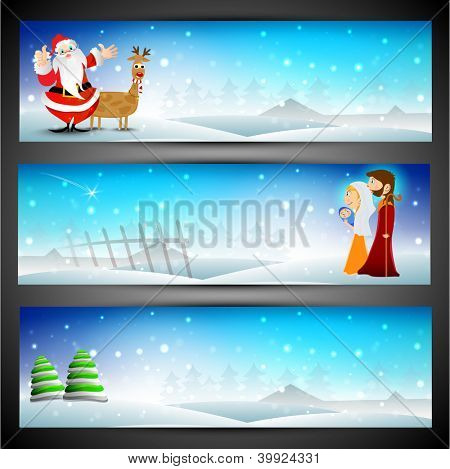 Merry Christmas website header or banner set.  EPS 10.