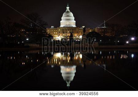 Washington DC - US Capitol building and its reflection on pool - night scene