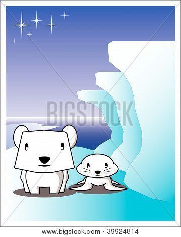 Polar bear and seal graphic