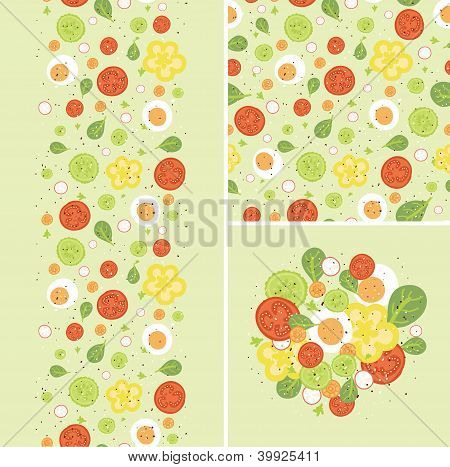 Eggs and salad set of seamless pattern and borders.