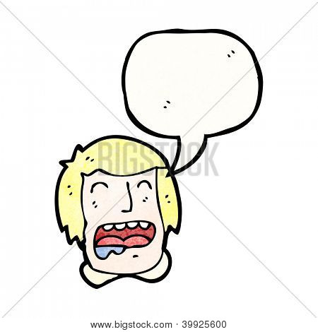cartoon drooling man with speech bubble