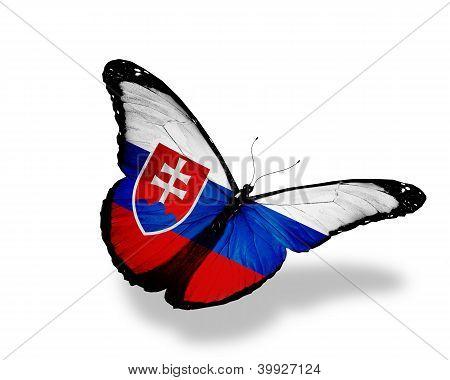 Eslovaco bandera mariposa volando, aislado sobre fondo blanco