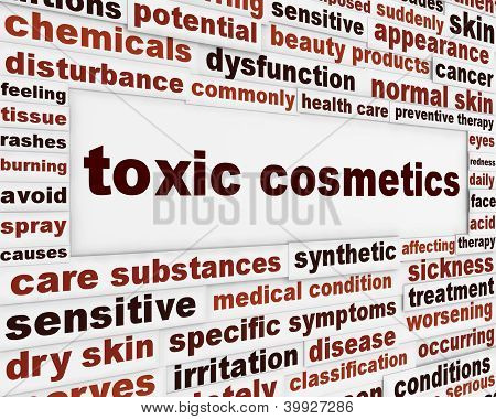Toxic cosmetics warning message background