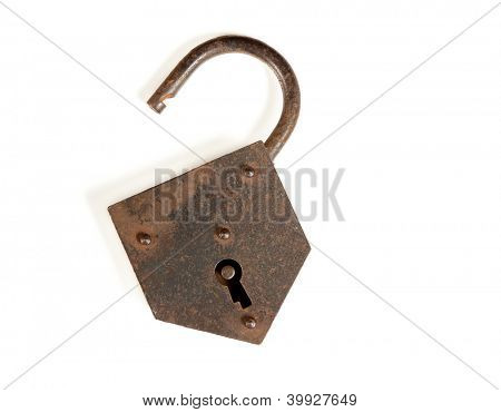 Old rusty open padlock isolated on white