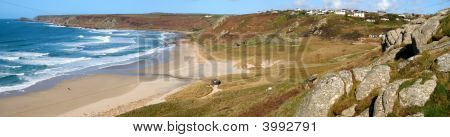 Panoramic View Of Sennen Cove And Cape Cornwall.