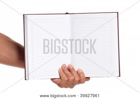 Man hand with a notebook isolated on white background