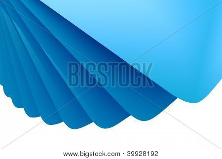Abstract blue 3D layered background with white copy space.