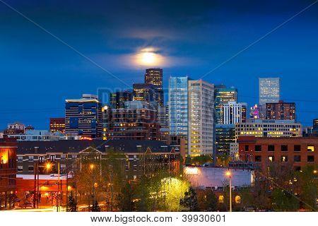 Full Moon Above Denver Colorado