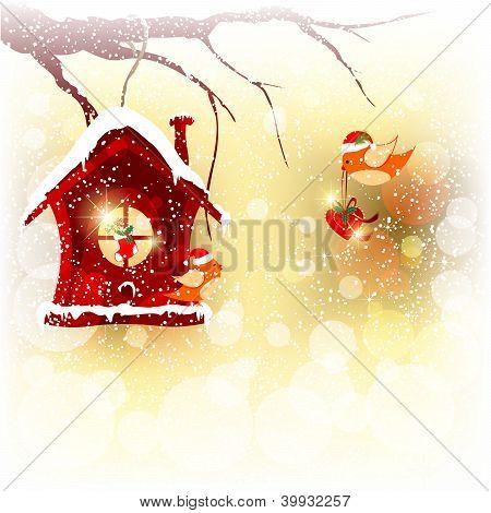 Tarjeta de Navidad Robin pájaro enviar saludo