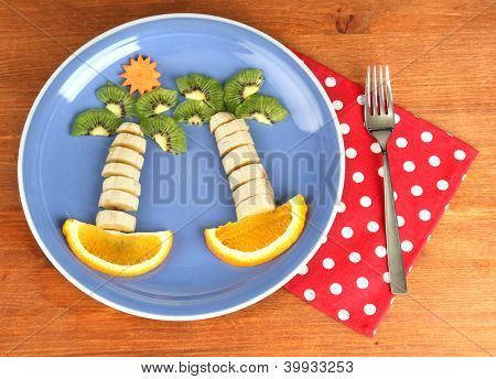 fun food for kids on wooden background