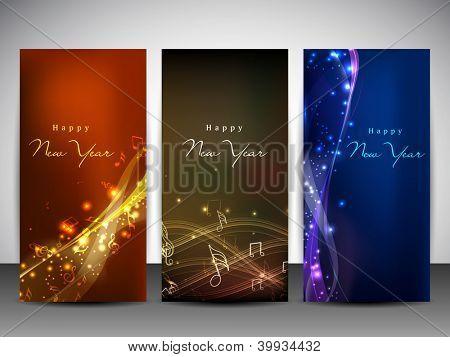 Sitio web banners conjunto para feliz año nuevo. EPS 10