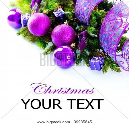 Christmas. Christmas and New Year Baubles and Decorations isolated on White Background.Holiday Border Design Composition. Violet Color