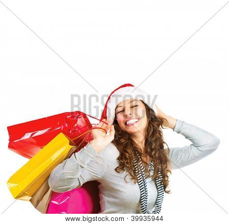 Happy Fashion Woman with Shopping Bags. Sales. Christmas Gifts. Christmas Shopping Girl Isolated on White Background. Christmas Gift.