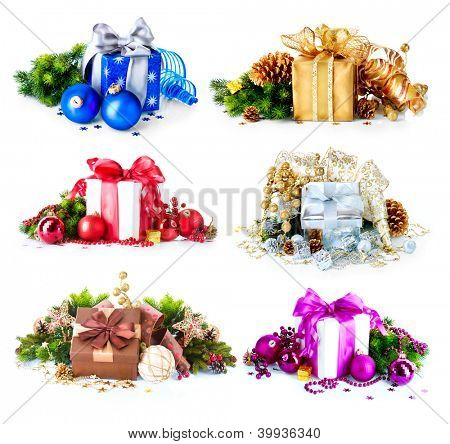 Christmas Gift Box Set. Collage of Six Colorful New Year's Gifts isolated on White Background. Present Boxes with Baubles , Ribbon, Evergreens, Bow. Different Colors. Art Holiday Design. Decorations.