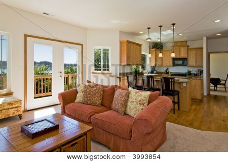 Contemporary Living Room And Kitchen