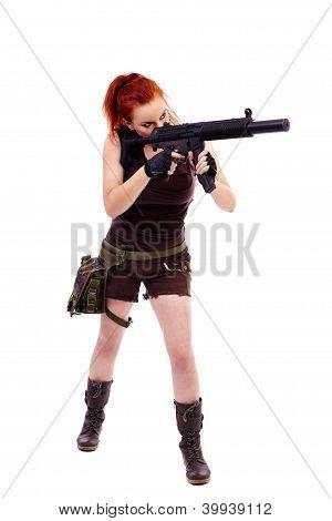 Militar ruiva bela jovem senhora