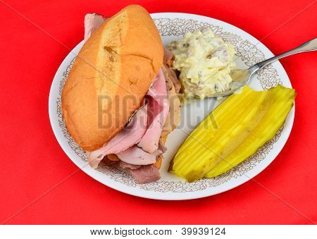 Hoagie Sandwich With Potato Salad