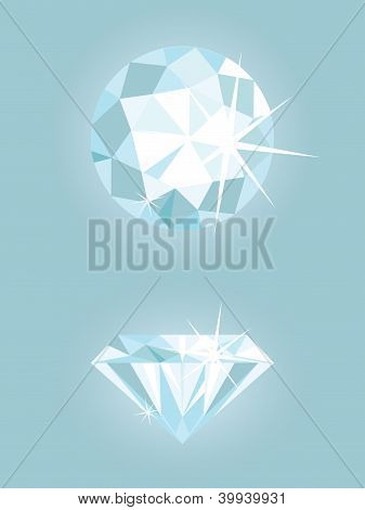 Set of two vector shiny diamonds