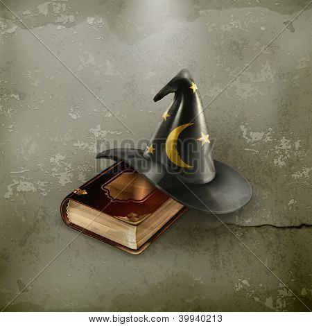 Wizard hat and old book, old-style vector