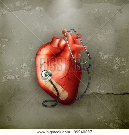 Heart and stethoscope, old-style vector