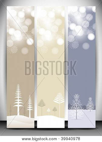 Happy Holidays website banner with beautiful snowflakes and Xmas tree design. EPS 10.
