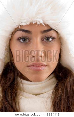 Close Up Of Female In Winter Wear