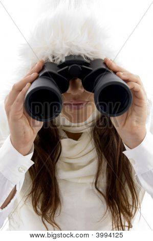 Beautiful Woman Looking Through Binocular