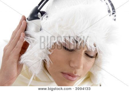 Youth Girl Listening To Music With Headphones