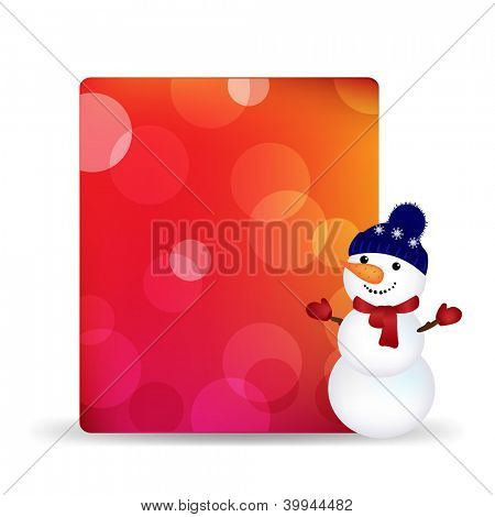 Blank Gift Tag With Snowman And Bokeh, Isolated On White Background With Gradient Mesh, Vector Illustration