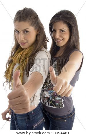 Pretty Females Showing Thumbs Up
