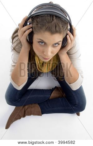 High Angle View Of Woman Wearing Headset