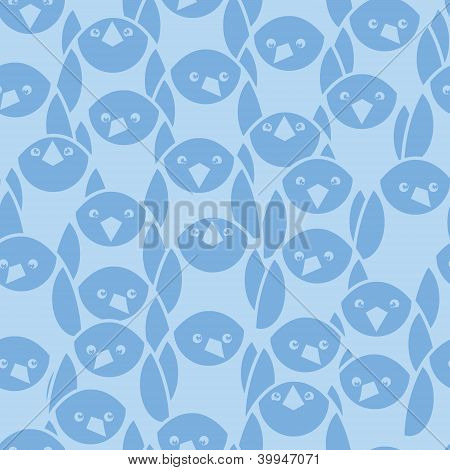 Blue penguines seamless pattern background