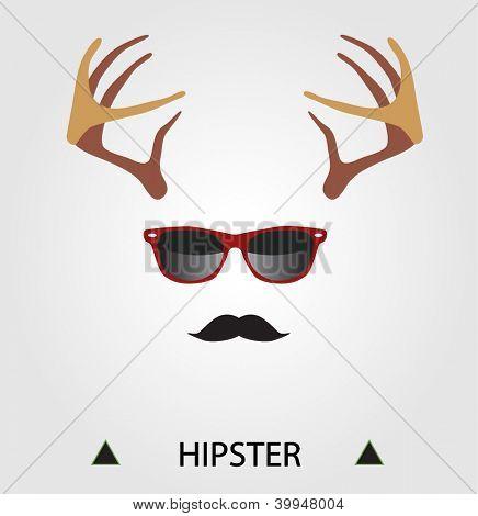 Hipster complete set: deer horns, hipster glasses, mustache