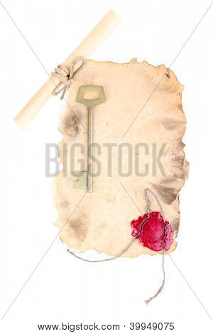 Old paper with key and scroll isolated on white