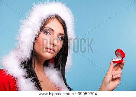 Beautiful Girl Wearing Santa Claus Gift Box