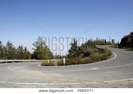 Winding Mountain Road In Cyprus
