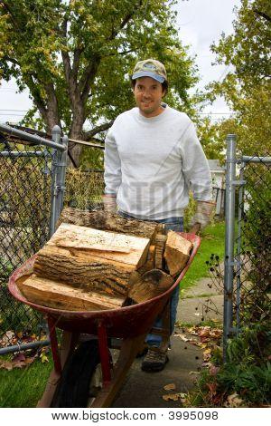 Wheel Barrel Full Of Firewood