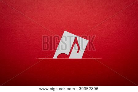 Paper  cut of music note with copy space for text or design