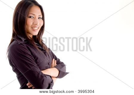 Side Pose Of Woman With Folded Hands