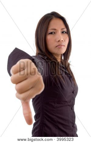 Female Showing Thumbs Down Sign