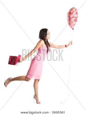 Happy Valentine Asian Woman