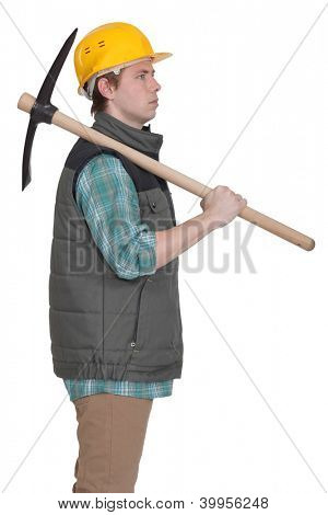 Construction worker with a pickaxe